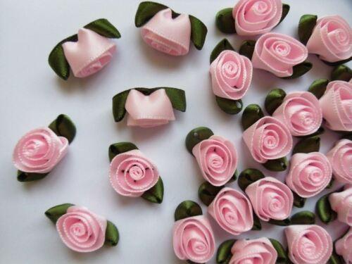 "Lots 30-R0048K 7//8/"" Pink Swirl Satin Ribbon Flowers Roses w//Leaf"