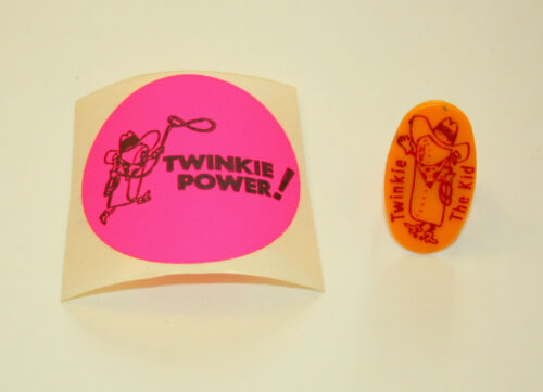 Vtg Toy Hostess Twinkies The Twinkie Kid Plastic Ring Orange Sticker NOS 1970s