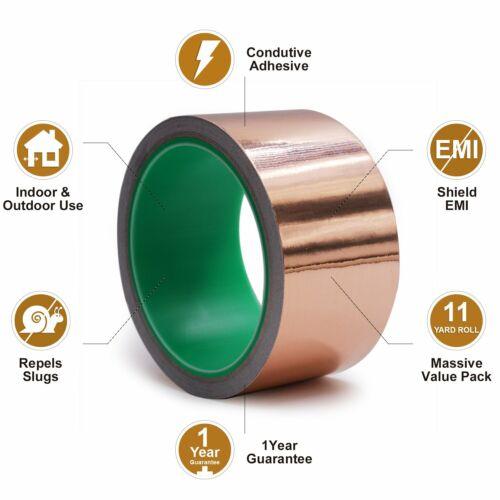 Copper Foil Tape//Conductive Adhesive for Guitar-EMF Shielding-Repels Slugs Snail