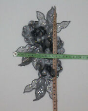 1Pcs Leaves Flowers Chiffon AB Crystal Beaded Applique/Patch Motif~Sew On~Grey