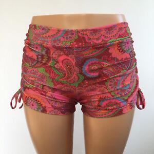 SXYfitness Red Bandanna Shorts Pole Hot Yoga Shorts made in USA - Swim Festival Paisley Plus Size Workout