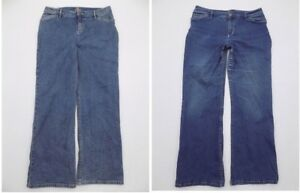 Lot-of-2-J-Jill-Women-12P-Petite-Jeans-Denim-Pants-Stretch-Waist-15-5-034
