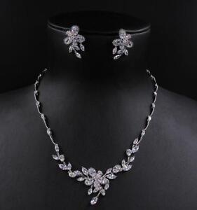 Wedding Bridal Zirconia Platinum Plated Simulated Diamond Necklace Earrings Set Ebay