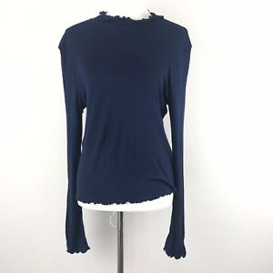 Abound-Womens-Lettuce-Edged-Knit-Mock-Top-Size-XXL-Blue-Long-Sleeve-Stretch
