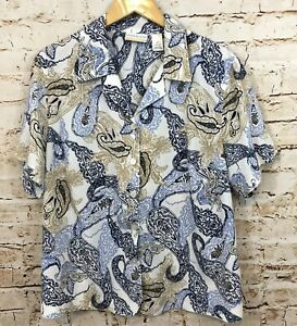 Alfred-Dunner-blouse-womens-18W-short-sleeve-button-down-shirt-top-paisley-J7