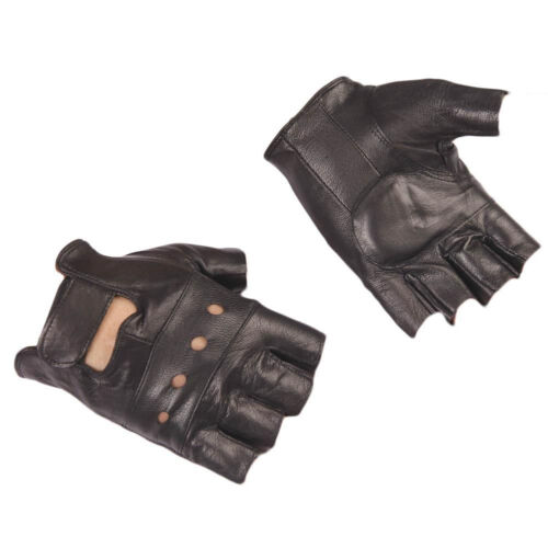 1Pair Mens Outdoor Black Soft Leather Driving Motorcycle Biker Fingerless Gloves