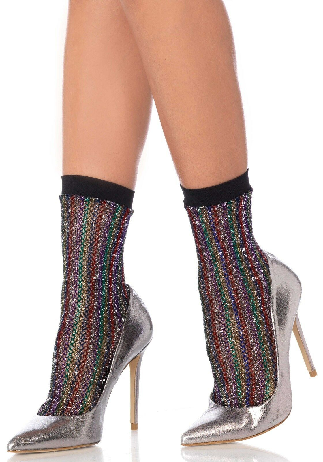 großartiges Aussehen heißes Produkt großer Rabattverkauf Details zu LAG 3040 Leg Avenue Glitzer Söckchen Socken Strümpfe Lurex  Regenbogen Bunt
