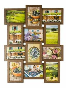 levandeo bilderrahmen collage 45x58cm 12 fotos 10x15 nussbaum