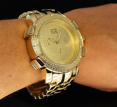 Lavish Gold Finish iCE Master CZ Bezel Bling Hip Hop Metal Quartz Modern Watch