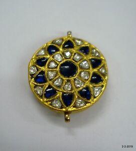 20kt Vintage Antique Handmade Gold Jewelry Kundan Polky pendant necklace