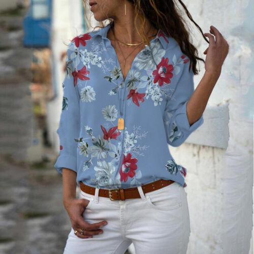 Damen Blumen Hemd Bluse Longbluse Longtop V-Ausschnitt Tunika Oberteil Shirt Top