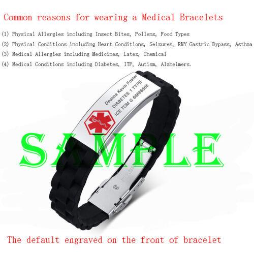 Identificador de alerta médica de emergencia banda de Silicona Hombre Pulsera Brazalete Personalizado Grabado Gratis
