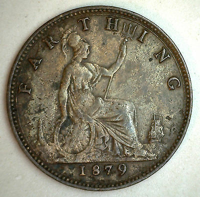 1879 Copper Farthing Large 9 Great Britain UK Coin YG