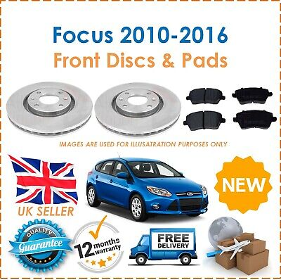 FORD FOCUS MK 2  05-TWO FRONT VENTED BRAKE DISCS /& FOUR BRAKE PADS  L/&R   300 MM