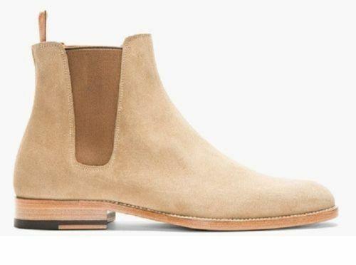 botas para hombre Hecho a Mano Bronceado Gamuza Cuero Beige Camel Chelsea Tobillo Zapato Formal Wear