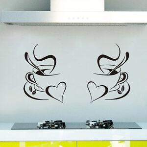 Details About 2x Cup Of Coffee Wall Art Decal Sticker Kitchen Decor Design 05 Pub Restaurant