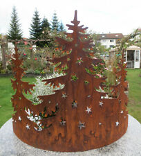 Waldszene Advent Dekoration für Schale  Tisch Garten Terrasse Edelrost Ring kl