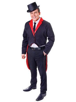 Costume Robe fantaisie Circus maître de piste nouveaux mâles adultes habit Queue-de-pie Victorienne Noir