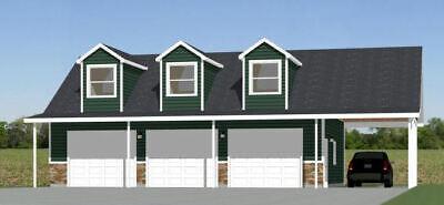 Levendig 40x30 3-car Garage With Carport -- 1,894 Sqft -- Pdf Floor Plan -- Model 10 Beschikbaar In Verschillende Uitvoeringen En Specificaties Voor Uw Selectie