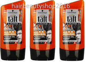 Schwarzkopf-Taft-Looks-3x-MAXX-Power-Hair-Styling-Modelling-Gel-3x150ml