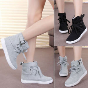Women-Ankle-High-Top-Casual-Buckle-Lace-Up-Gym-Sports-Canvas-Flat-Sneaker-Shoes