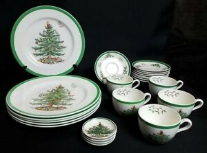 Spode England Christmas Tree Green Trim Dishes Dinnerware Plates Saucers Cups