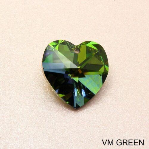 1 x Genuine SWAROVSKI Crystal Heart PENDANT 14mm or 18mm~Clear AB// VL Purple~