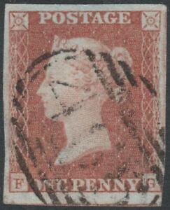 1841-SG8-1d-RED-BROWN-PLATE-88-VERY-RARE-465-POLPERRO-CANCEL-4-MARGINS-VFU-FG