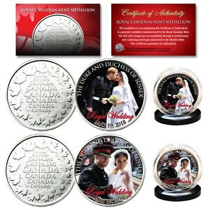 PRINCE-HARRY-amp-MEGHAN-MARKLE-Official-Royal-Wedding-Portraits-RCM-2-Coin-Set
