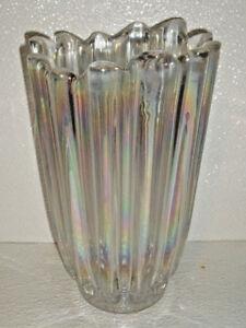 Federal-Glass-CELESTIAL-Vase-Iridescent-Vtg-Carnival-Ribbed-7-75-034