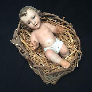 Vintage-Creche-Nativity-Scene-Chalk-Wear-Jesus-In-Manger-Christmas-Spain-9-034-T