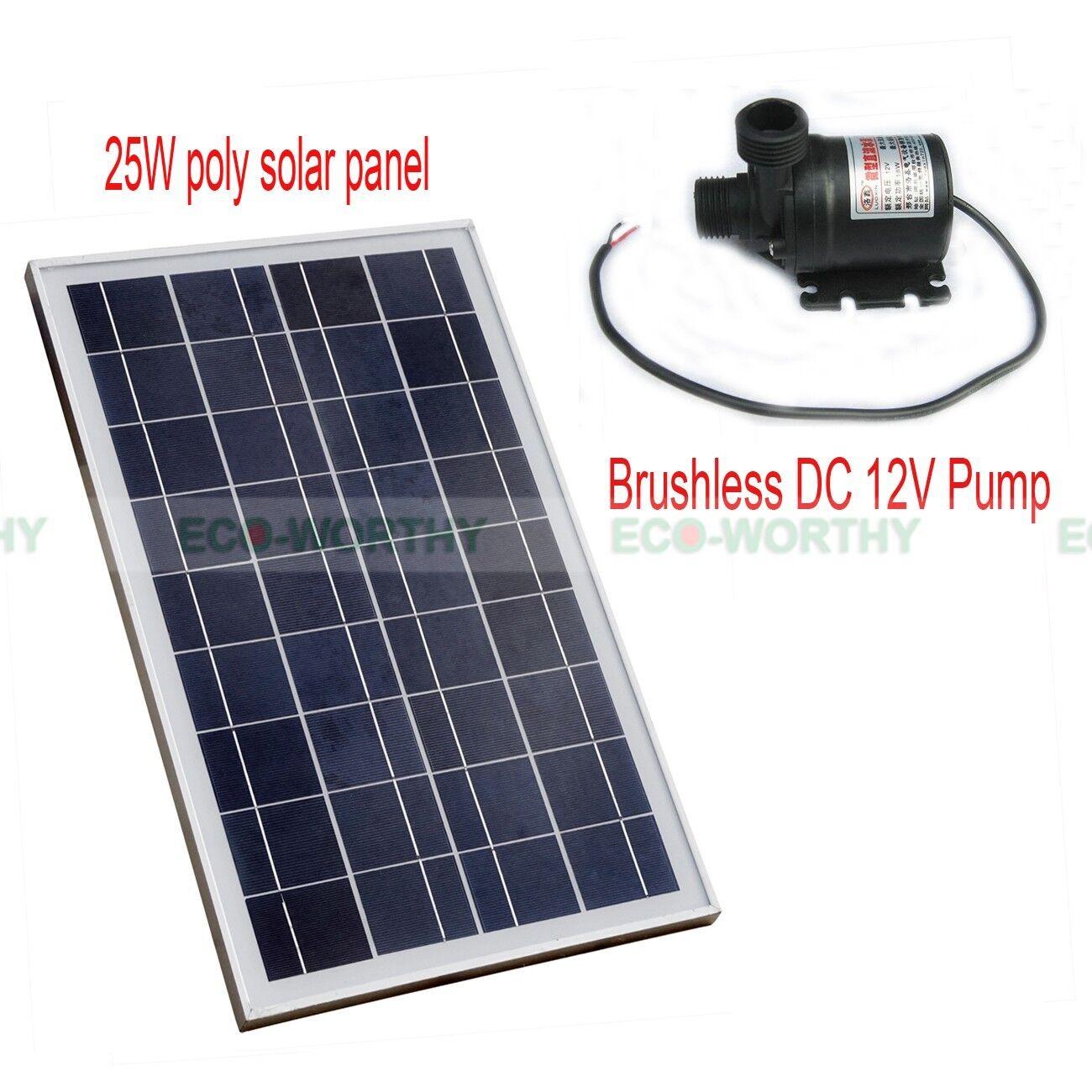 12V Solar Pump Kit 25W Solar & Hot Brushless Pump