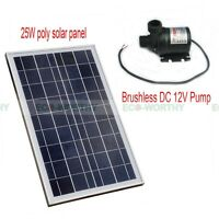 12v Solar Pump System Kit 25w Solar Panel & Hot Water Circulation Brushless Pump