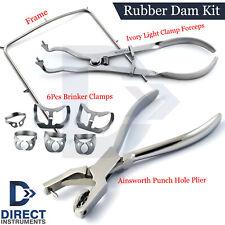 9pcs Dental Rubber Dam Kit Ivory Forceps Brinker Clamps Ainsworth Punch Frame