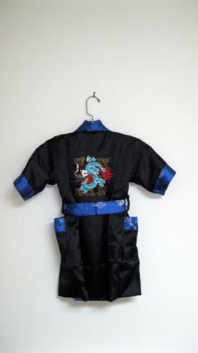 Thai Silk-Blend Child/'s Robe//Kimono Blue Reversible Dragon Unisex S New
