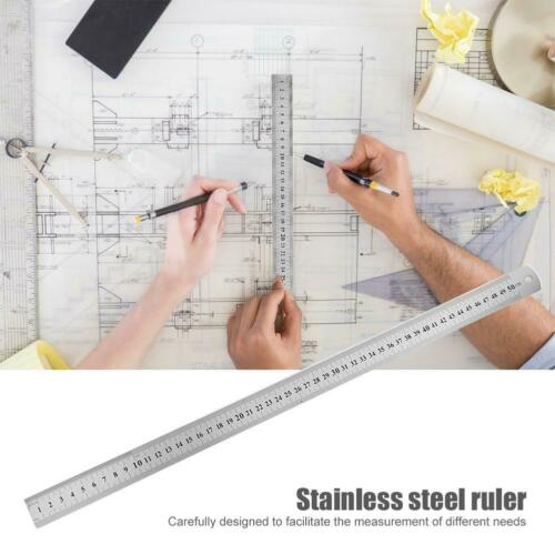Stainless Steel Metal Straight Ruler Precision Double Sided Measuring Test Tool
