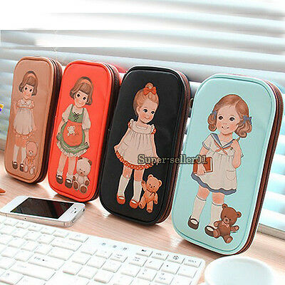 NEW Cute Children PU Leather Doll Pen Pencil Case Bag Stationery Cosmetic Bag