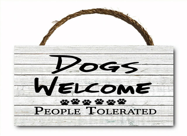 """DOGS BECAUSE PEOPLE SUCK Cute Funny Dog Sign 10/""""x5/"""" NEW GIFT Wood Plaque 536"""