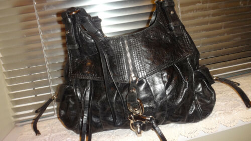 Francesco Double Leather Crumpled Handbag Black Handles Biasia gHqw1gfA