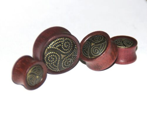 PAIR of Red Wood pattern Plug 10mm-25mm