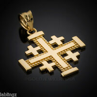 Gold Jerusalem Cross Pendant (yellow, White, Rose Gold, 10k 14k )