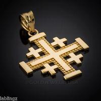 Gold Jerusalem Cross Pendant (yellow, White, Rose Gold, 10k 14k )