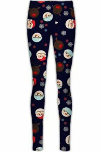 Womens Full  Christmas Girls Leggings Xmas Snowman Reindeer Black Jeggings