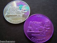 1981 WOODY WOODPECKER Plain+Purple Aluminum Mardi Gras Doubloons