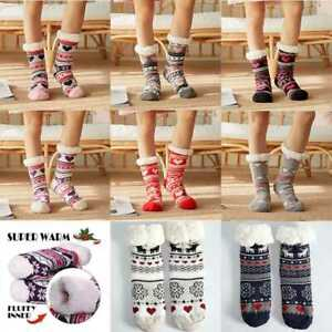 Details about  /Women Thick Thermal Fleece Stocking Sherpa Lining Lounge Slipper Floor Bed Socks