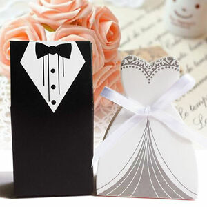 100X-Tuxedo-Dress-Bride-Wedding-Bomboniere-Ribbon-Boxes-Favor-Guest-Candy-GiftAT