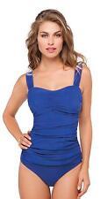 Profile by Gottex Cobalt Blue Tutti Frutti Ruched Tankini Swimwear Swim Top 32D