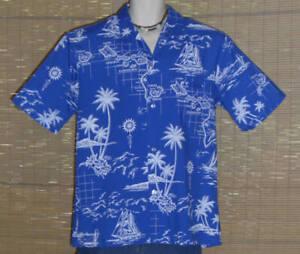 Royal Creations Hawaiian Shirt Blue White Large LN