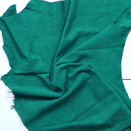 Excelente Cabra Gamuza Suave y sedoso terciopelo NAP Verde Esmeralda Barkers Hide /& Skins H389