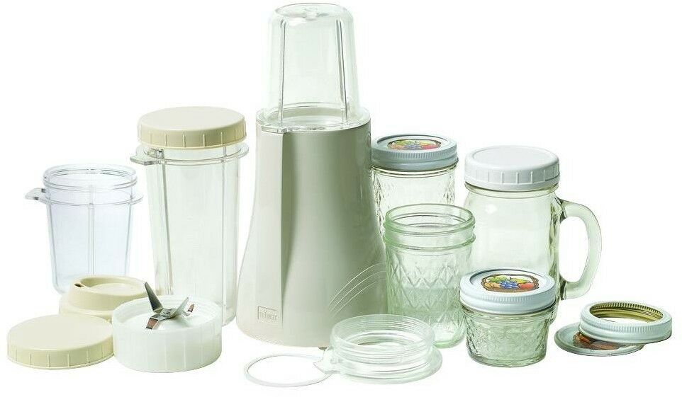 Mason Jar Blender Stainless Steel Blade Pulse Control Travel-Tailled in Cream